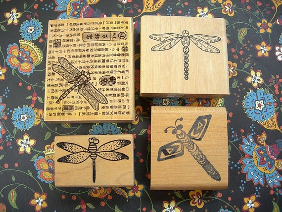 DRAGONFLIES Rubber Stamps Lot of 4 Wood Mounted