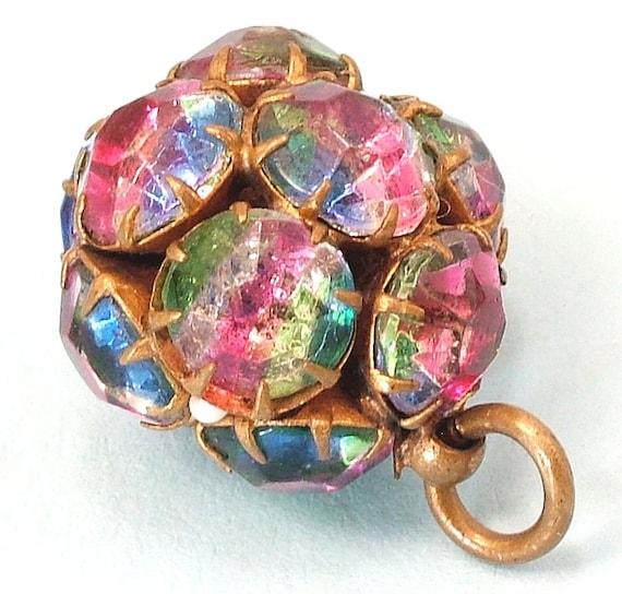 Vintage 1940s brass & iris glass, rainbow rhinstone/ paste ball charm