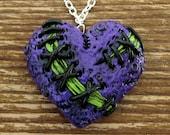 Purple Stitched Zombie Heart Necklace