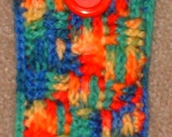 IPod/Cell Phone Cozy or Snuggie, Primary Colors, Crochet