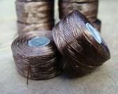 Wholesale Dark Brown  Nymo Thread, size F, 2 Spools, 49 Yards each