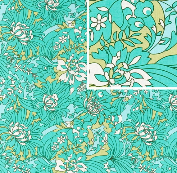 Last One Available - Half Yard of  Amy Butler - Daisy Chain - Wildflowers in turquoise