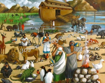 Instant Digital Download Art: Noah With Ark And Animals, Bible Story