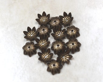 9mm bead caps antiqued brass flower 30