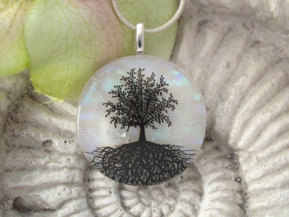 Tree Necklace - Tree Pendant -  Dichroic Glass Necklace - Tree of Life - Fused  Dichroic Glass Jewelry - White Opal 070212p109