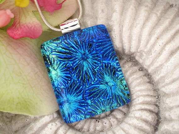 Fused Dichroic Glass Jewelry -  Cobalt Aqua - Dichroic Glass Pendant and  Necklace 071212p100