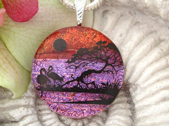 Flamingo Necklace   Dichroic Fused Glass Jewelry -  Flamingo - Fused Glass Jewelry - Necklace - Nature - 071712p103