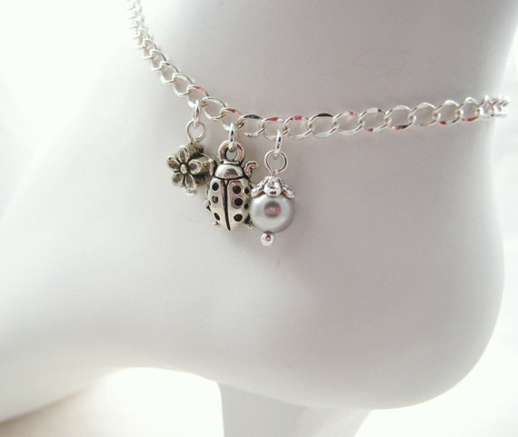50% OFF Silver Ladybug Ankle Bracelet Swarovski Pearl Flower Bead Summer Fashion Foot Jewelry