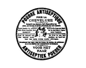 CLEARANCE Vintage Dutch European powder label Rubber Stamp