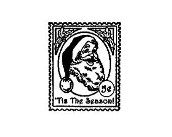 Santa Postage Stamp Rubber Stamp Tis the Season Christmas holiday stamp