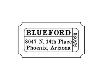Movie theater ticket stub return address custom rubber stamp