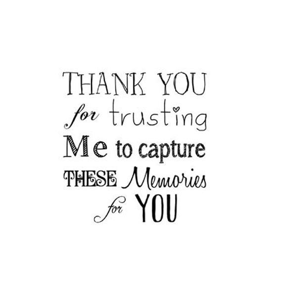 Custom Photographer's Thank You Rubber Stamp Thank You For