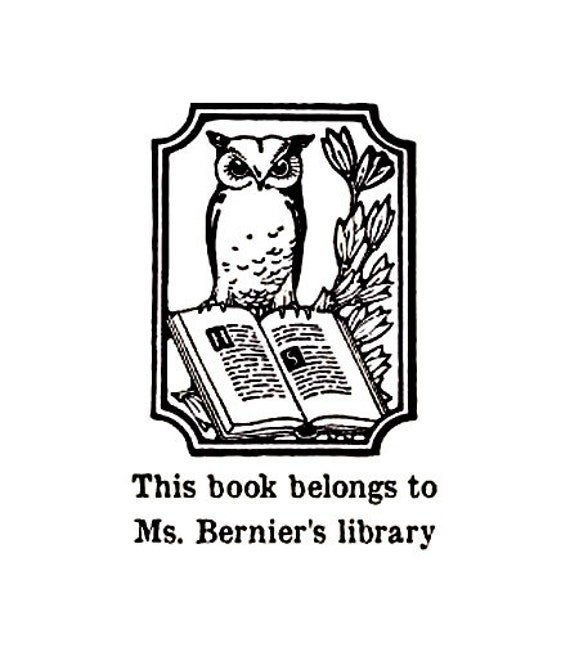 Owl This book belongs to custom Rubber Stamp Bookplate ex libris
