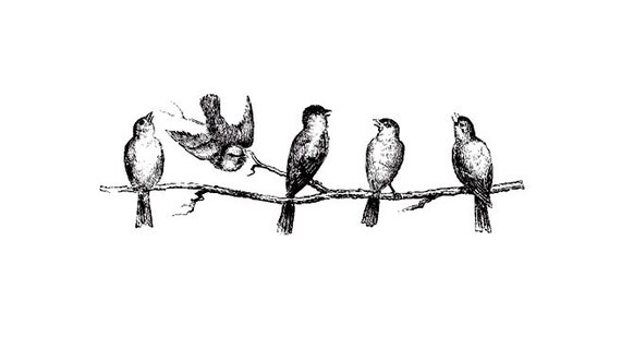CLEARANCE Birds on a tree Branch Rubber Stamp