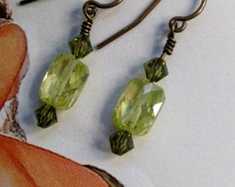 Lemon cubic zirconia and swarovski crystal earrings
