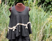 black and tan linen lagenlook tunic The Topographer   - L / XL