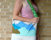 Upcycled Tote Bag Rocky Mountains Blue