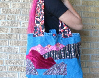 Upcycled Tote Bag Rosy Fields Rocky Mountains