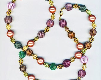 Beaded Beads Necklace . Purple, Lavender, Garnet, Green, Gold, Lilac. Festive Holiday Statement Necklace - Fantasy by enchantedbeads on Etsy