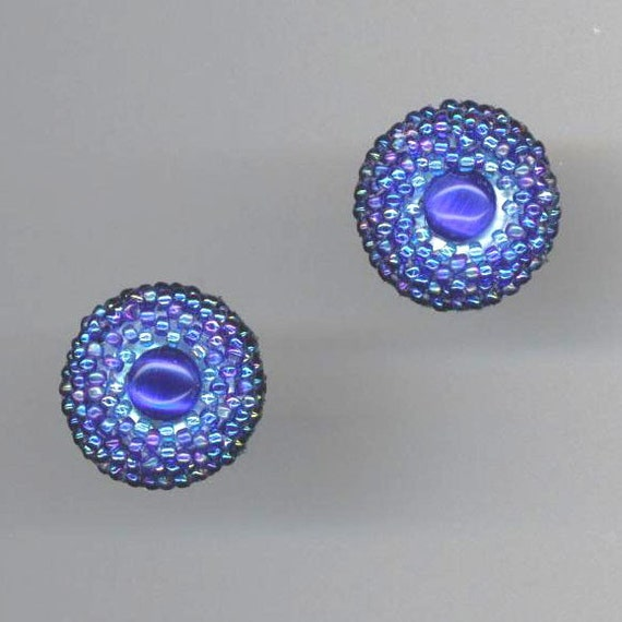 Blue Sapphire Beaded Earrings . Beadwoven Cat's Eye Earrings . Post Earrings . Royal Blue Earrings - Sapphire Blue by enchantedbeads on Etsy