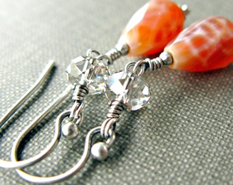 Fire Agate Crystal Earrings Red Orange Oxidized Sterling Silver Swarovski Sparkle Fall Fashion Gift - Desert Rain