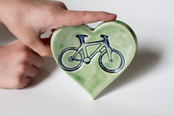 Handmade Clay Heart Ring Dish // Bicycle Imprint