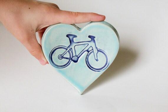 Clay Heart Dish, Ring Dish,  Blue Bicycle Imprint