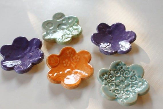 5 Clay Ring Dish Blossoms Hand Made