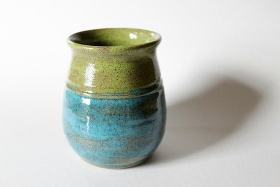 Vase or Pencil Caddy / Turquoise and Chartreuse Green