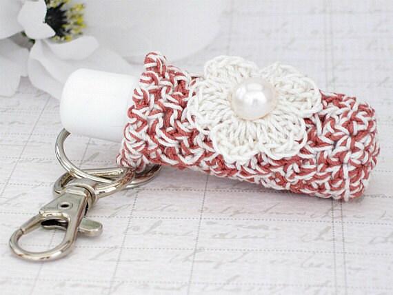 Plush Lip Balm Cozy, Keychain Key Holder, Raspberry & Off White Keychain with Crochet Off White Flower
