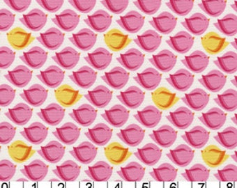 SALE Michael Miller Patty Young Heaven and Helsinki, Puffy Bird Pink Fabric - REMNANT Size 27 Inches by 44 Inches