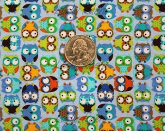 Timeless Treasures Tiny Owls Blue Fabric - Half Yard (Last One)
