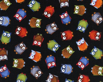 Timeless Treasures, Bright Eyed and Bushy Tailed Tossed Owls Black Fabric - By the Yard