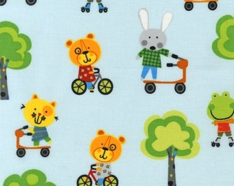 SALE Amy Schimler, Creatures and Critters 2, Animals on Wheels Blue Bright Fabric - By the Yard