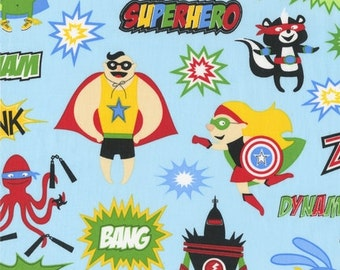 Illustration Ink, Superhero, Superheroes Adventure Blue Fabric - REMNANT Size 27 Inches by 44 Inches