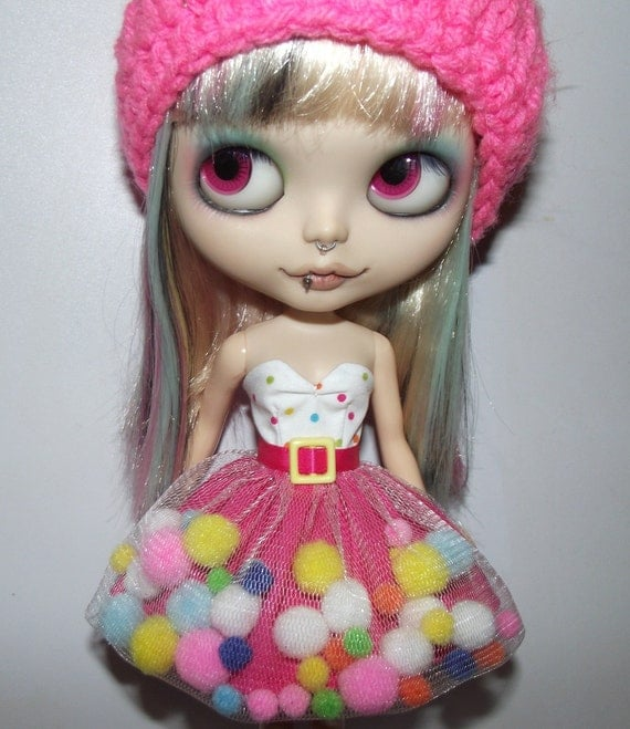 Rainbow Gumdrops strapless dress for Blythe and Pullip