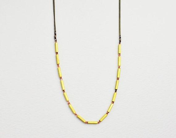 Brass necklace - extra long necklace - brass bars - long necklace - minimalist necklace - antique brass chain - vintage jewelry - Kindred