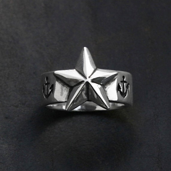 """New """""""""""" Nautical star ring 'North Star' in sterling silver"""