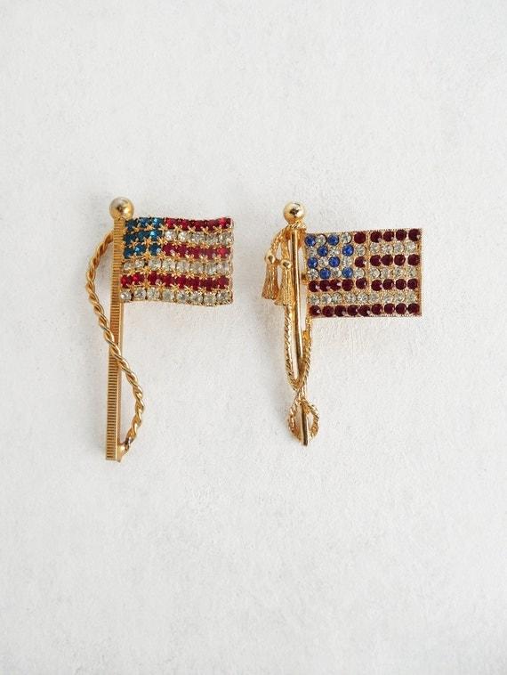 2 Vintage US Flag Pins - rhinestone American flag