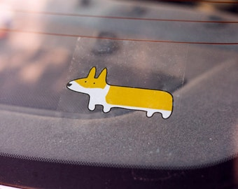 Corgi Car Window Decal Sticker - Red and White