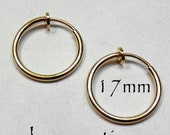 Hoop Earrings 17mm Non-Pierced Gold Plated Brass - 1 pair