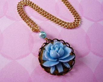 Blue Rose Flower Cabochon Necklace