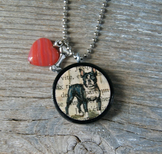 Fun Altered Vintage Checker Necklace Pendant - Puppy Love