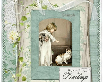 INSTANT DOWNLOAD Vintage Darlings Collage Victorian Child with Cats for Jounrals, Cards, Crafts U-PRINT Digital