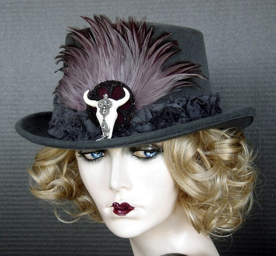 Equestrian Or Steampunk Style Full Size Top Hat In Slate Gray Velour, Jeweled Cow's Skull And Feathers - On Sale