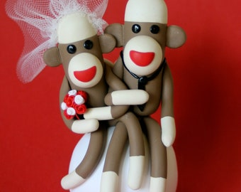 Sock Monkey Wedding Cake Topper 3 inch Cupcake Topper or Ornament