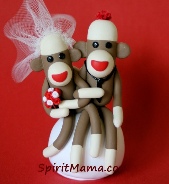 Sock Monkey Wedding Cake Topper 3 inch Cupcake and/ or Ornament