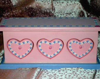 Pink Jewelry Box with Hearts, Girl's Vintage Jewelry Box, Heart Jewelry Case, Large Jewelry Box, Personalized Jewelry Box