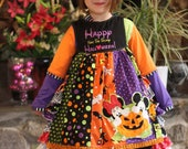 Halloween Vacation Custom Boutique Mouse applique Dress