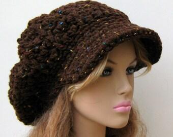 Newsboy cap, Brown Rustic Tweed Cap Visor Tam Hat Slouchy Newsboy Beanie Billed woman or man slouchy cap